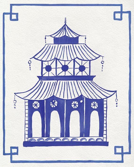 Hollywood Regency Wall Decor Chinoiserie Wall Art Pagoda Painting Blue Pagoda Print Pagoda Wall Art Chinese Pagoda Art Eastern Art Chinoiserie Art Chinoiserie Art Prints