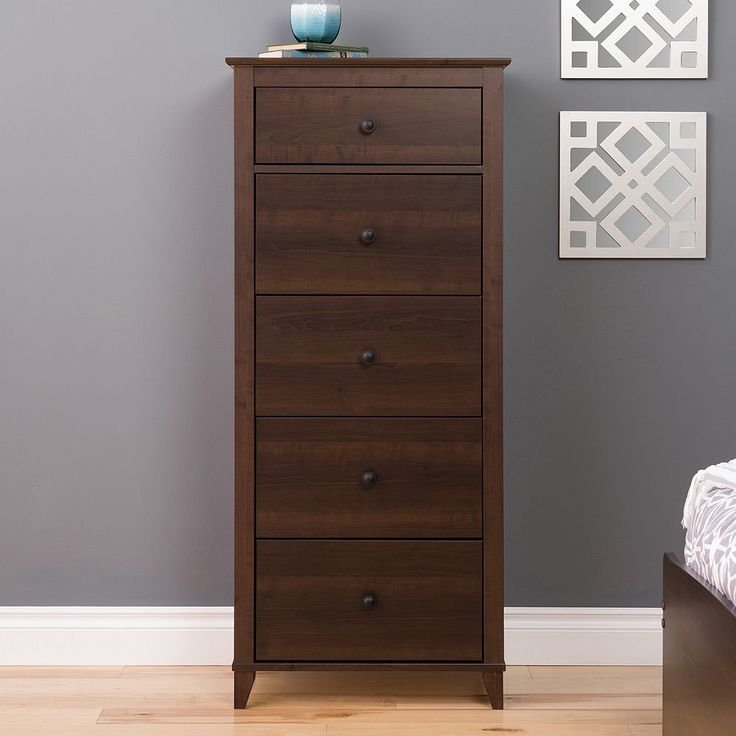 Prepac Yaletown 5-Drawer Tall Espresso Dresser, Brown