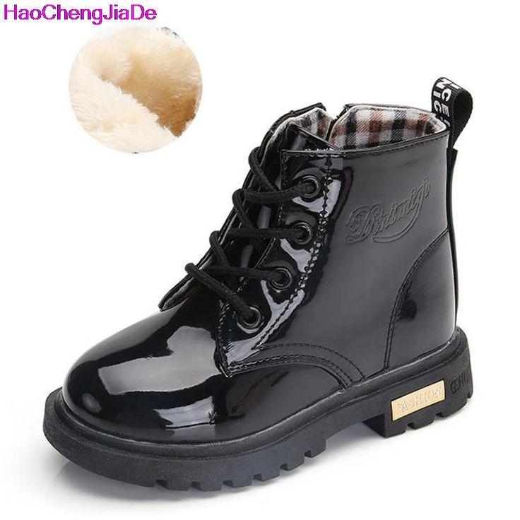 Children's Boots New Autumn Winter PU Leather Waterproof Martin Boot Kids Snow Boot Brand Girls Boys Rubber Boot Fashion Sneaker #Affiliate