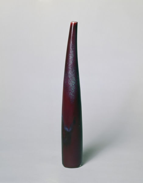 Porcelain vase with a high temperature mottled red glaze, made by Toini Muona at Arabia, Helsinki, ca. 1940-1952.