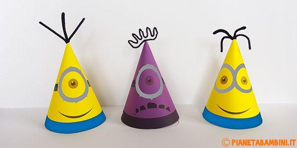 Cappellini dei Minions di Carta Fai da Te da Stampare