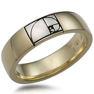 "Fibonacci Golden Ratio Wedding BandThis unusual wedding band depicts a spiral representing the Golden Ratio in mathematics.  This ratio appears in natural objects from seashells to flowers, and is emblematic of perfection. Also reminds me of the spiral of the nautilus, and the theme of ""built thee more stately mansions, o my soul..."""