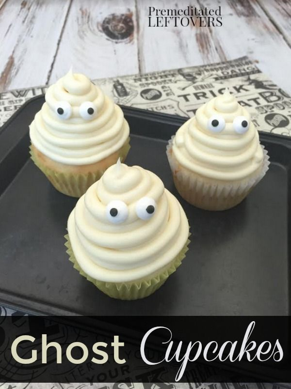 These Vanilla Ghost Cupcakes are an easy treat to make for Halloween parties. This recipe uses candy eyes and piped frosting to create a fun, spooky touch! This fun party idea includes a tutorial for creating the ghost using frosting and a piping bag.