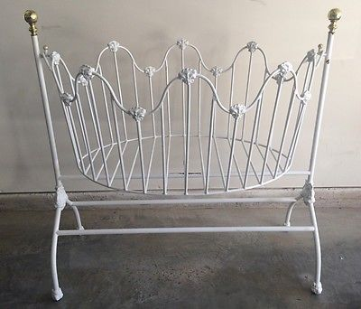 Vintage Looking White Iron Cradle Bassinet Brass Gold