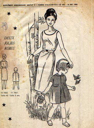 Robe femme, corsage ajusté par des pinces, encolure ronde et emmanchures garnies d'un biais, jupe très légèrement évasée ajustée à la taille. Taille 40 (correspond environ - 7591760