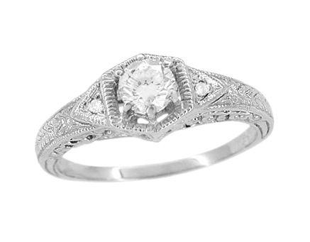 Art Deco White Sapphire Filigree Engraved Engagement Ring in 14 Karat White Gold $740.00
