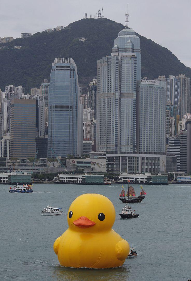 Giant Rubber Duck Floats Around Hong Kong