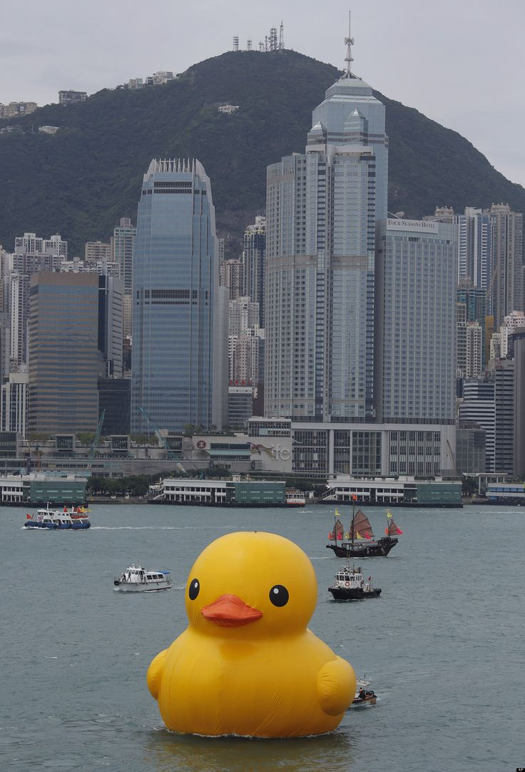 A giant Rubber Duck created by Dutch artist Florentijn Hofman in Hong Kong's Victoria Habour