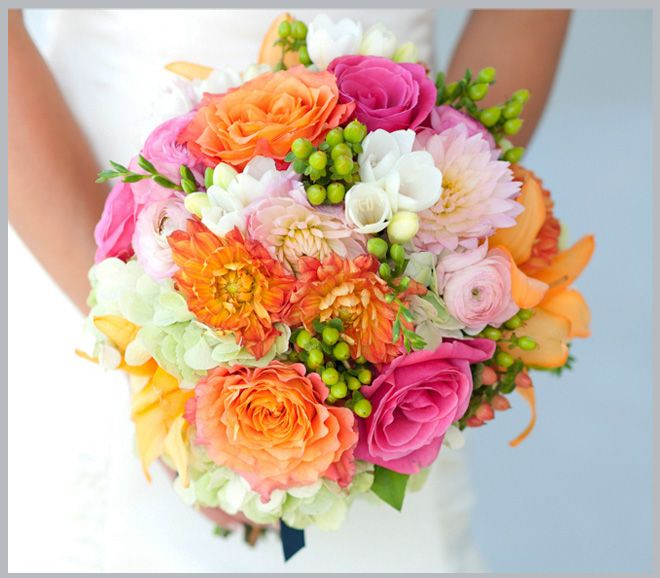 Pink Orange Yellow And Green Lakeway Resort Wedding Flowers