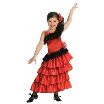 A beautiful Kids Spanish Flamenco Costume that has a traditional Flamenco Dancer look with ruffled skirt, black lace and rose petal detail