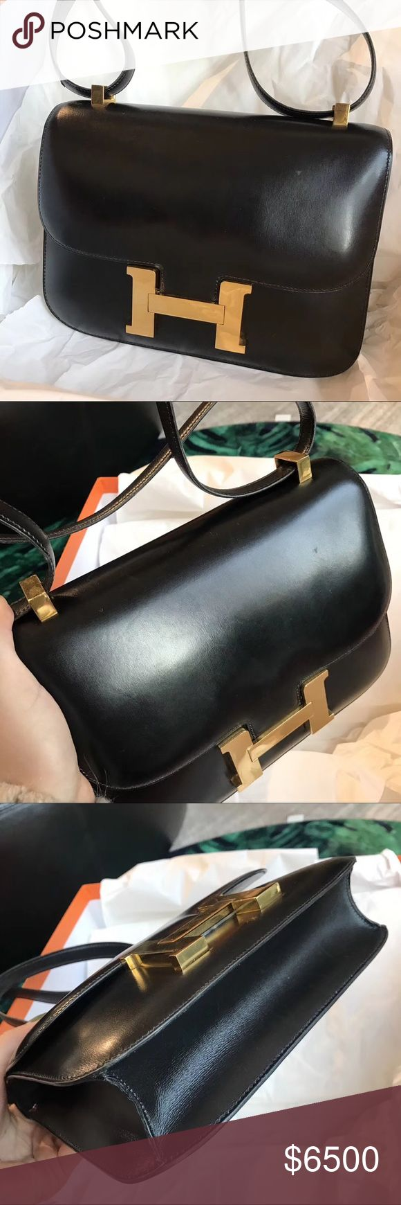 Hermes constance 24 blk gold box leather Authentic Hermes constance 24 black box leather gold hardware. Scratches shows on picture 8 Hermes Bags Crossbody Bags