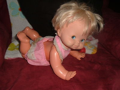 Vintage Mattel Doll Baby That-A-Way 1974 Crawler  I LOVED this doll!!! She had batteries and would crawl by herself.