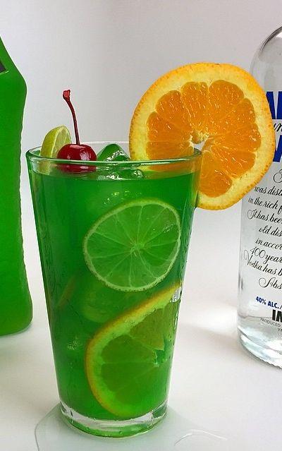 Sex in the Jungle (Vodka, Rum, Blue Curacao, Midori, Lime Juice, Orange Juice, Pineapple Juice)