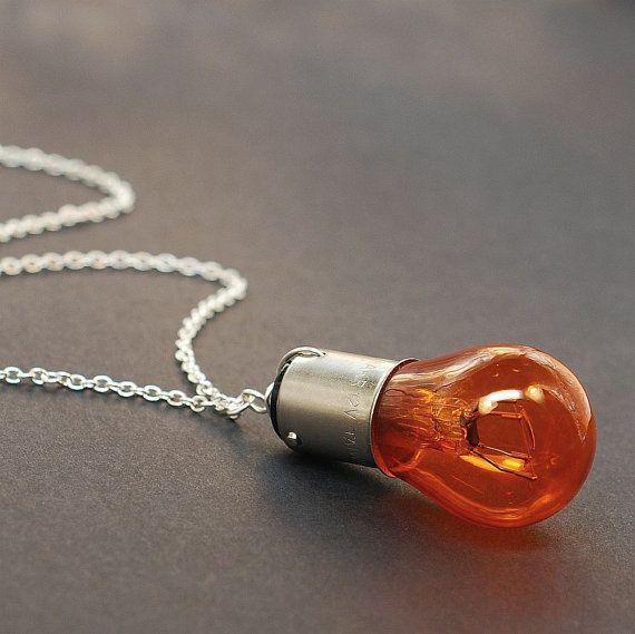 Lamp ketting Steampunk sieraden oranje & Zilveren door Tanith