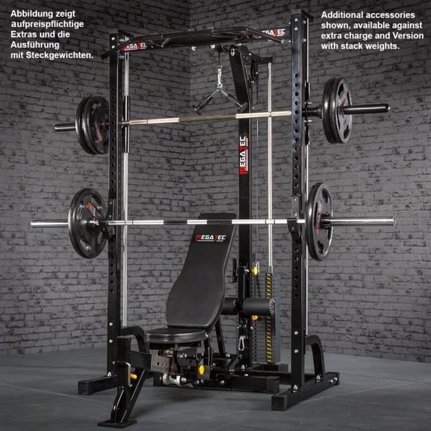 Máquina De Musculación Multipress Tipo Smith Con Estación De Poleas Megatec Equipo De Gimnasio En Casa Gimnasio En Casa Diseño De Gimnasio En Casa