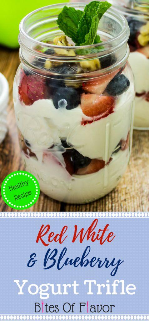 Red White & Blueberry Yogurt Trifle- Vanilla Greek Yogurt layered with blueberries, strawberries, & walnuts is sure to satisfy your sweet tooth. Weight Watchers friendly. www.bitesofflavor.com
