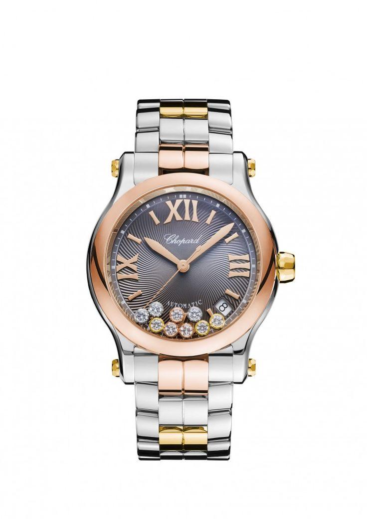 Este #reloj Happy Sport de CHOPARD con oro rosa, amarillo y acero destaca por su estilo femenino.