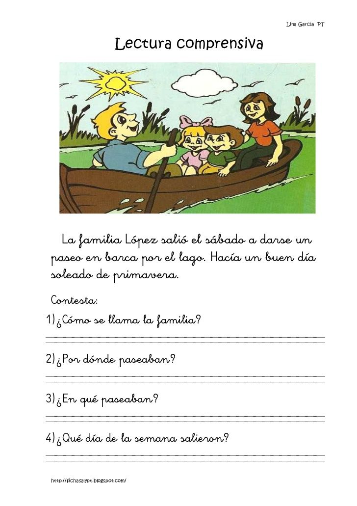 Lina García PT                            Lectura comprensiva   La familia López salió el sábado a darse un paseo en barca...