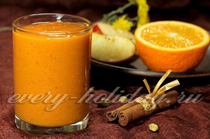 Смузи из тыквы с апельсином и бананом
