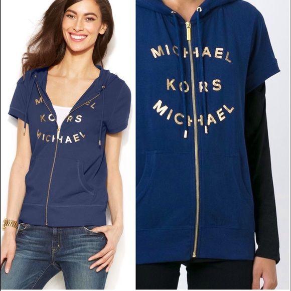 Michael Kors logo print short sleeve hoodie. Cotton blend super soft brand new hoodie. Please use offer option  MICHAEL Michael Kors Tops Sweatshirts & Hoodies