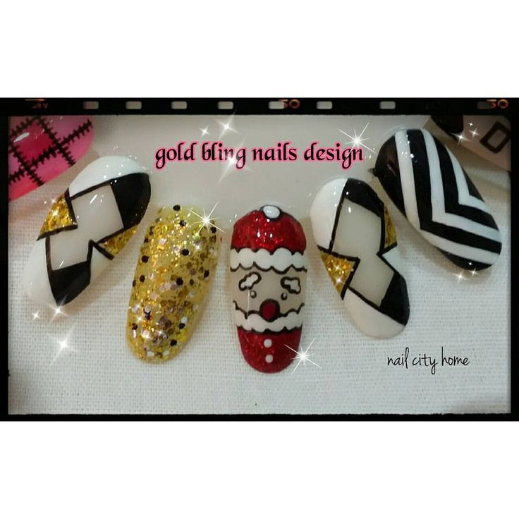 #gold #blingbling #black #white #art #design and #glitter #red #GellishColour #santaclos #art #nailcityhome Can following by #Instagram #snapeee #Twitter #facebook #tumblr #pinterest ID : NailCityHome