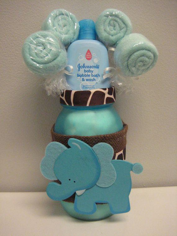 Baby shower elephant mason jar safari centerpiece for Baby gift decoration ideas