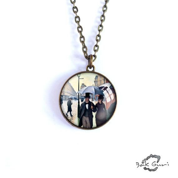 Art necklace, Gustave Caillebotte, Paris Street, Rainy Day pendant, artwork jewelry, charm art picture necklace, simple necklace