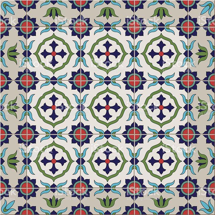Бесшовный узор плитки и границы. Марокканский, португальский, Azulejo орнаменты. Сток Вектор Стоковая фотография