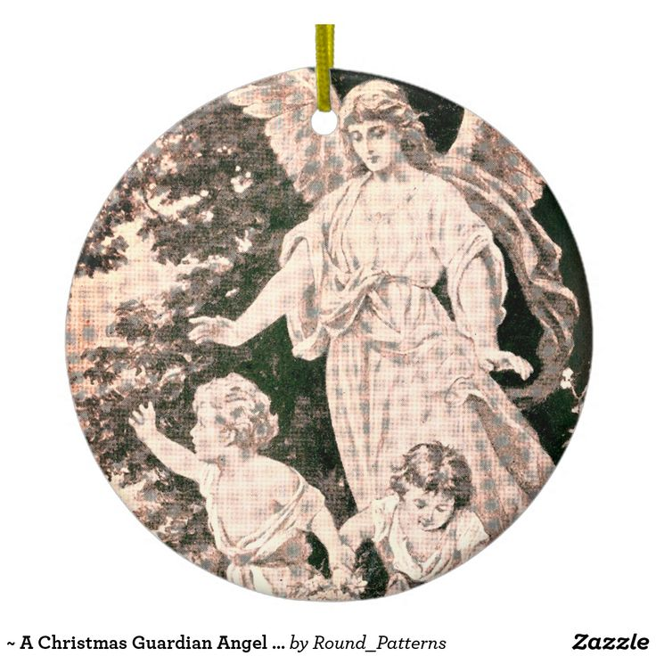 ~ A Christmas Guardian Angel Painting ~ Ceramic Ornament