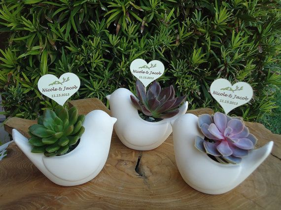 6 Succulent Plant Rosette Ceramic Bird Favors and Tags for Wedding, Shower, Baptism or Any Special Event