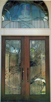 ArtGlassByWells | Contemporary Custom Leaded Glass Front Doors And Matching  Transom In Houston, Texas.
