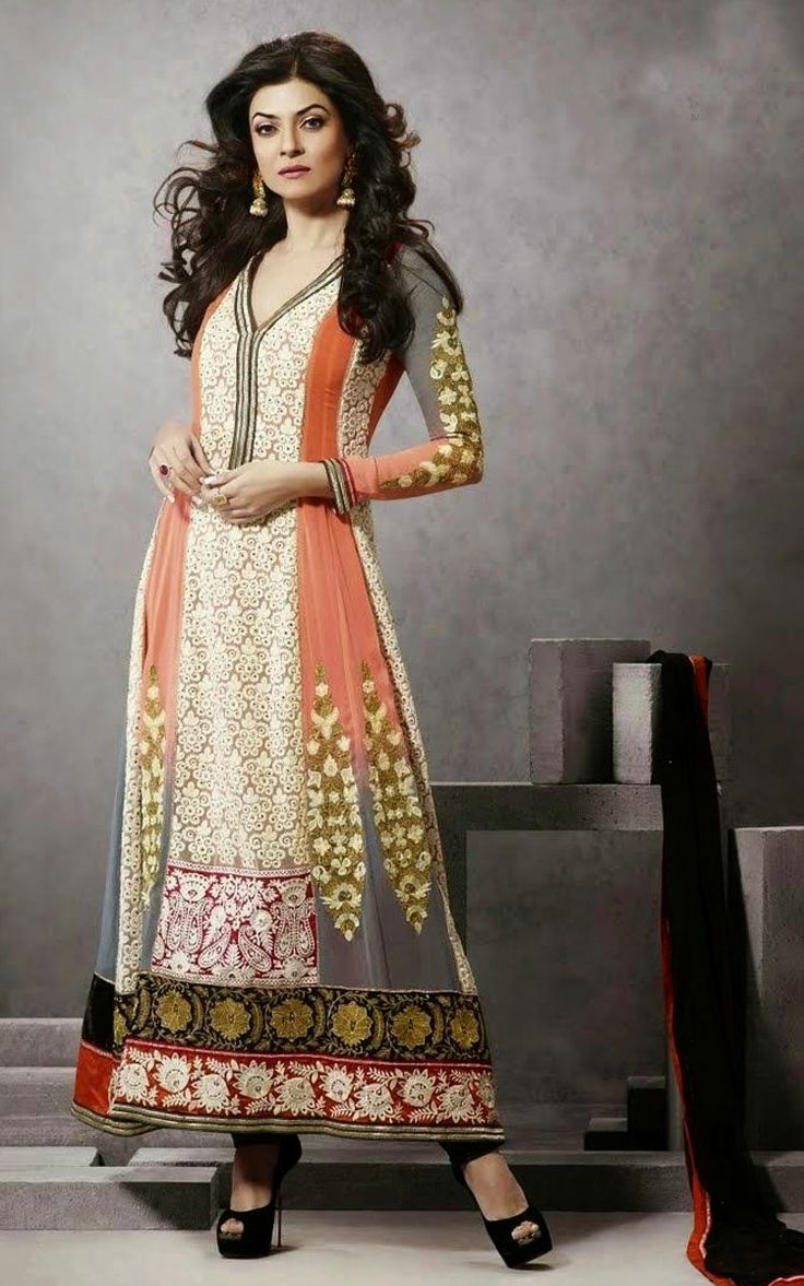 CREAM, PEACH & GREY GEORGETTE EMBROIDERED SALWAR KAMEEZ - SUS 403