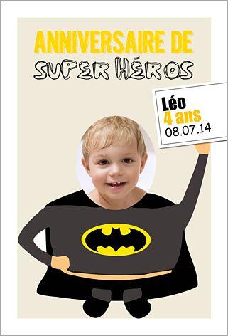 Carte d'invitation anniversaire enfant : Batman à personnaliser sur Popcarte.com