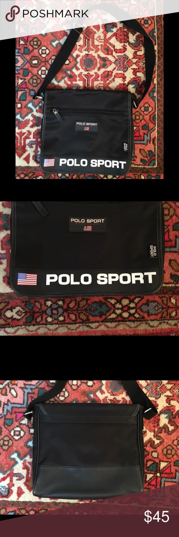 """90s Polo Sport Black Crossbody Messenger Bag Vtg 90s Polo Sport Ralph Lauren Spell Out Black Crossbody Messenger Laptop Bag  Thick black nylon. Tons of logo details. Strap drop at longest length is 20"""". Bag itself is 12x11 inches.  As previously stated, in excellent condition with a small white mark on inside flap.  Quick shipping! WE SHIP EITHER THE SAME BUSINESS DAY OR NEXT. ORDERS ON WEEKENDS ARE IN MAIL BY MONDAY MORNING. Polo by Ralph Lauren Bags"""