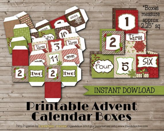 printable advent calendar boxes printable advent calendar boxes instant by 5283