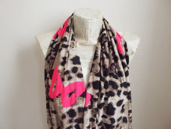 Leopard Scarf Butterfly Scarf Infinity Scarf Neon Black Brown