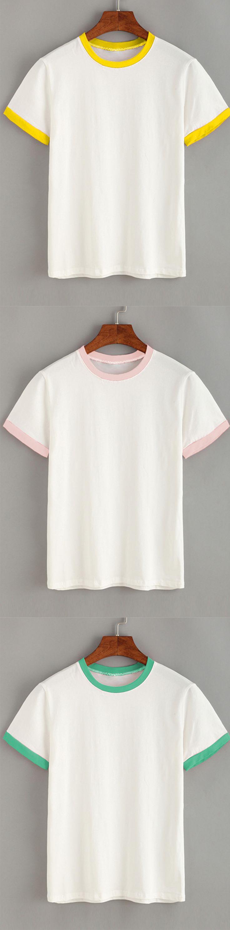 Casual Style - Contrast Trim Plain T-shirt - Pink