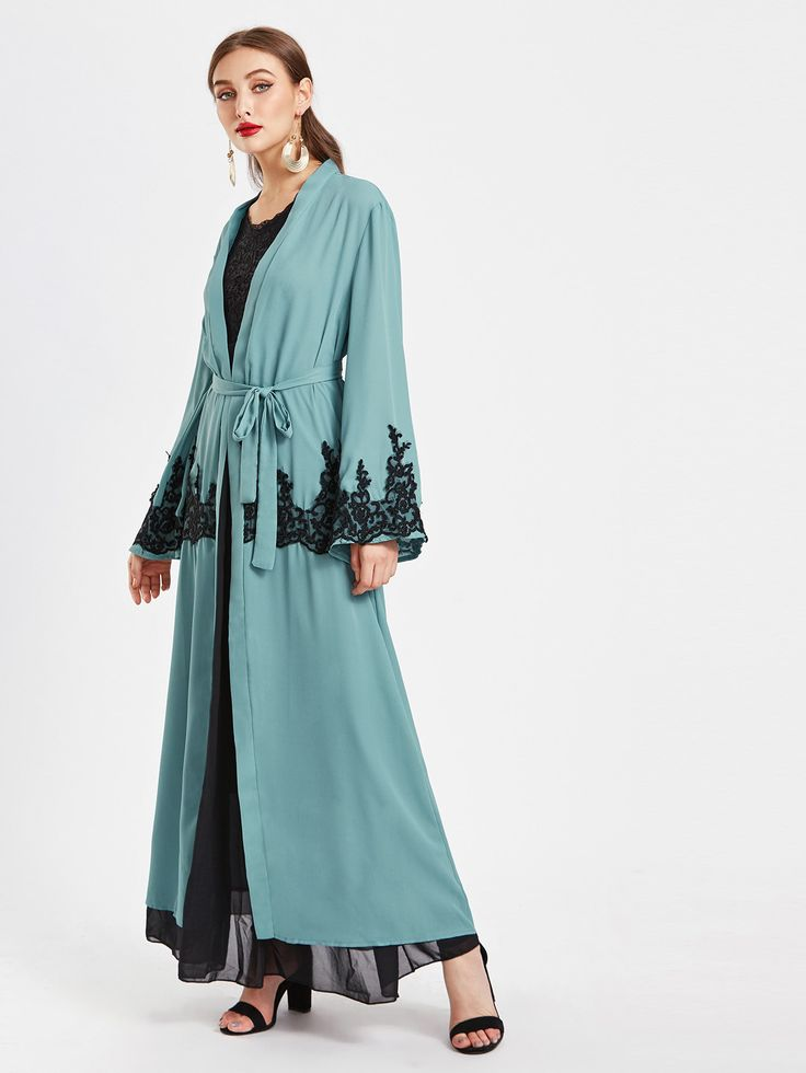 Shop Contrast Lace Appliques Embellished Belted Longline Abaya online. SheIn offers Contrast Lace Appliques Embellished Belted Longline Abaya & more to fit your fashionable needs.