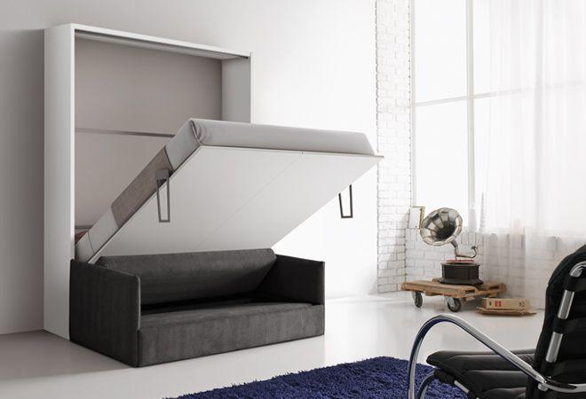 Letto a scomparsa con divano, consegna in 4 giorni. Mobile bianco con divano grigio scuro, disponibile nella versione matrimoniale con rete 140x200