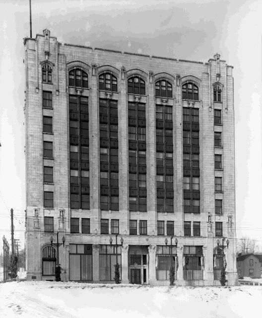 https://flic.kr/p/tkq5g9 | Exterior of the Whalen Building | Date: unknown Description: This winter scene shows the exterior and main entrance to the Whalen Building which is located at 34 Cumberland Street North in the area of Thunder Bay that was formerly Port Arthur. The building was designed by architects Brown & Vallance and constructed primarily using reinforced concrete in 1913. The building was originally used as a private commercial development and now serves as the business of...