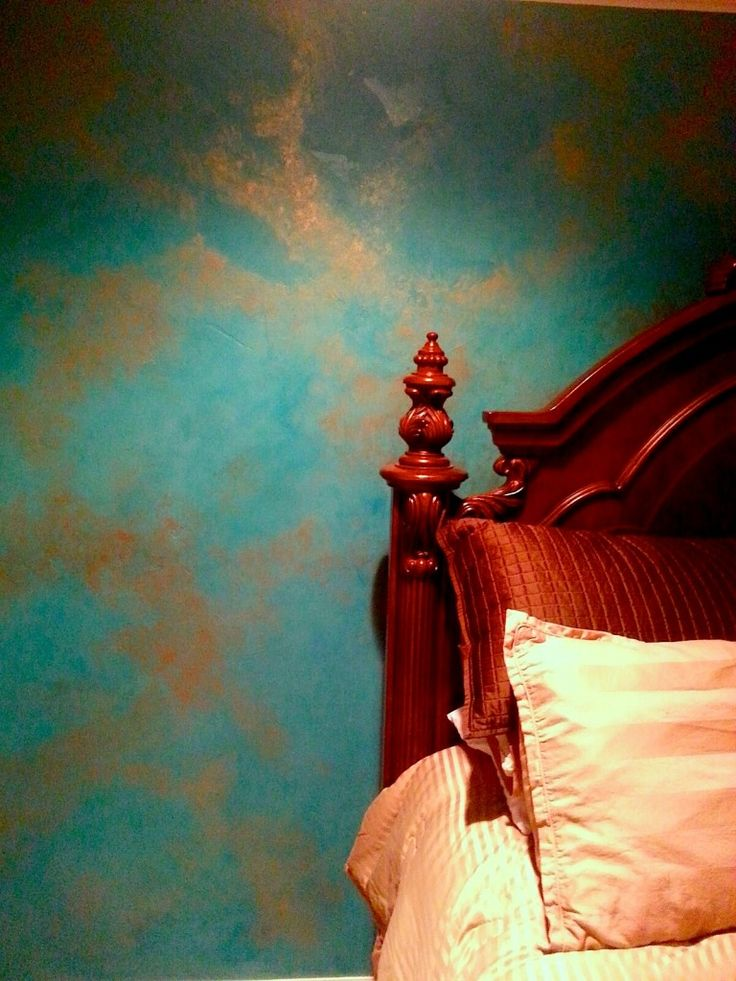 Master bedroom Turquoise & copper metal wall Finish for an accent wall. - Ponderosa Princess Diaries & Style Guide