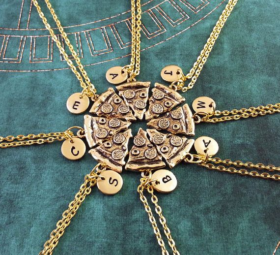 PIzza+Friendship+Necklaces+Set+Of+8+Initial+Necklace+by+MetalSpeak