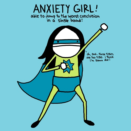 """Anxiety Girl"" character by Natalie Dee (© 2013)"