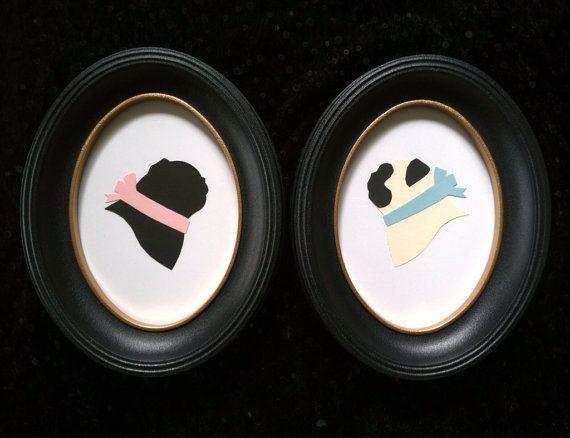 Hand Cut Original Pug Silhouette Set