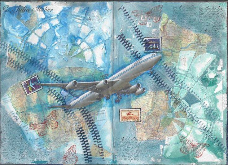 Dieses Mixed-Media-Bild entstand, weil ich in einem offenem Bücherregal einen alten Atlas gefunden habe und unbedingt die Landkarten in meinem Kunst Journal benutzen wollte.