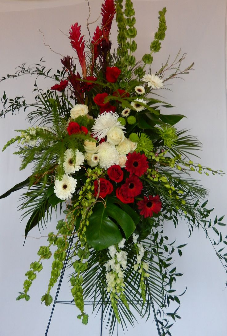 1243 best sympathy flowers images on pinterest floral arrangements another dizennio standing spray done in rich deep reds white and green church flowersfuneral flowersaltar flowerswedding izmirmasajfo Choice Image