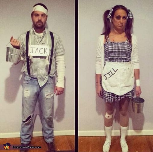 Jessica: My boyfiend and I as Jack and Jill after the hill. Basically just dress as kids, and look banged up, bruised, and bandaged like you just fell down a hill....