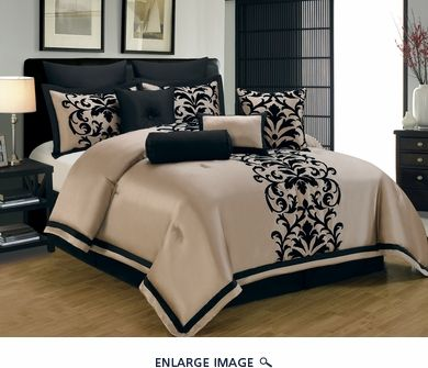 14 Piece Queen Dawson Black And Gold Bed In A Bag Set Bedroom