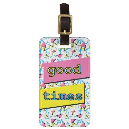 Good Times Retro Pattern Custom Luggage Tag