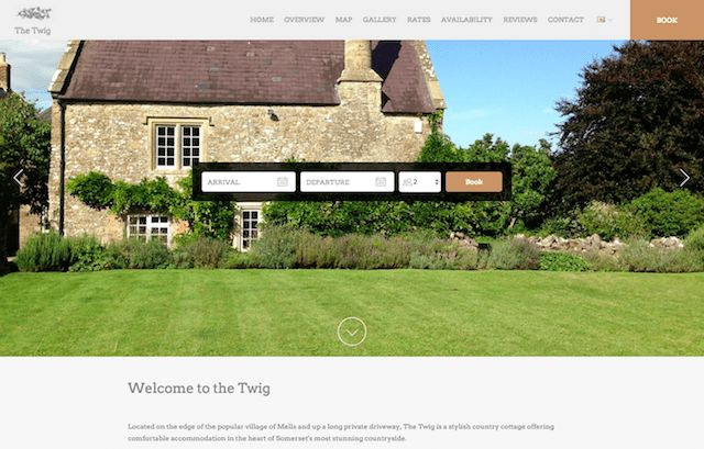 The Twig - The natural, earthy tones used in this Lodgify's customer website design strengthen its appeal as a peaceful, green, countryside location.  #vacationrentalwebsites #vacationrentals #webdesign #website